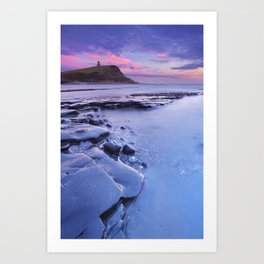 Sunset at Kimmeridge Bay in southern England Art Print