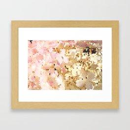 Flower Mosaic Millennial Pink and Golden Yellow Abstract Art   Honey Comb   Geometric Framed Art Print