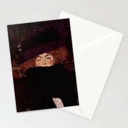 "Gustav Klimt ""Lady with Hat and Feather Boa"" Stationery Cards"