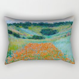 Claude Monet Impressionist Landscape Oil Painting Poppy Field in a Hollow near Giverny Rectangular Pillow