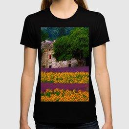 Sunflower and Lavender Fields, Tuscany Landscape by Jeanpaul Ferro T-shirt