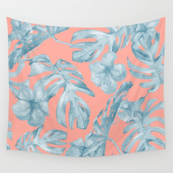 Island Life Pale Teal Blue On Coral Pink Wall Tapestry By
