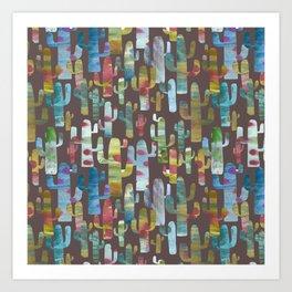 Watercolor Cacti - Browns Art Print