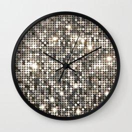 Silver Metallic Glitter sequins Wall Clock