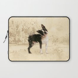Boston Terrier Watercolor Digital Art Laptop Sleeve