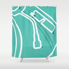 Neon Turntable 3 - 3D Art Shower Curtain