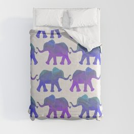 Follow The Leader - Painted Elephants in Royal Blue, Purple, & Mint Comforters