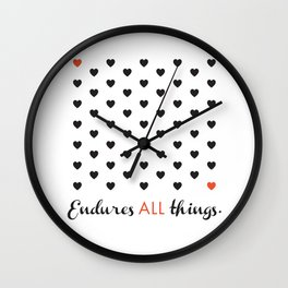 Love Endures All (Blk/Red) Wall Clock