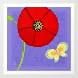 P is for Poppy Art Print
