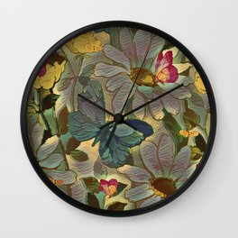 Painterly Flowers and Butterflies Wall Clock