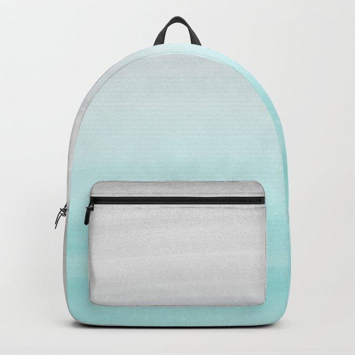 Touching Aqua Blue Gray Watercolor Abstract #1 #painting #decor #art #society6 Backpack