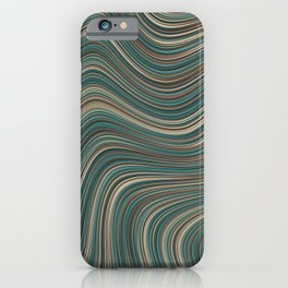 MANITOULIN forest colours of aquamarine green and brown in abstract waves design iPhone Case