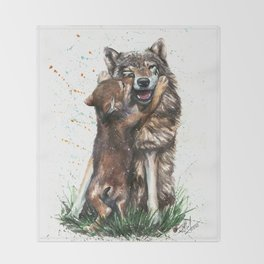 Wolf - Father and Son Throw Blanket