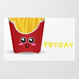 TGIF Thank God It's Fryday Cute French Fries Pun Rug