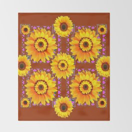 CINNAMON COLOR YELLOW SUNFLOWERS ART Throw Blanket