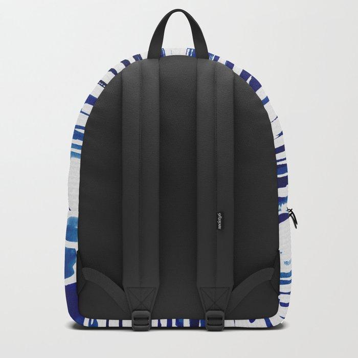 Shibori Paint Vivid Indigo Blue and White Backpack