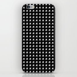 Black  pattern with white crosses iPhone Skin