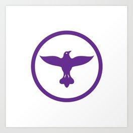 Dove Spreading Wings Circle Art Print