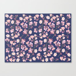 Cherry Blossom Pattern on Navy Canvas Print