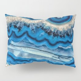 Blue agate slice wave Pillow Sham