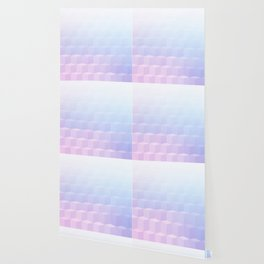 Pastel Cube Pattern Ombre 1 - pink, blue and vi Wallpaper