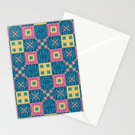 Classic Pretty Quilt Geometric Print in Yellow Pink and Blue Stationery Cards