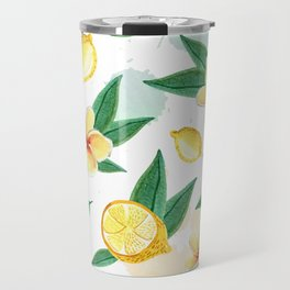 Floral Lemon Splash Travel Mug