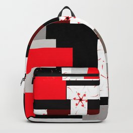 red grey black white floral geometric digital art Backpack