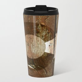 Rustic brown wooden Colorado flag Metal Travel Mug