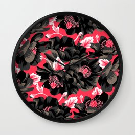 Mount Cook Lily - Pink/Black Wall Clock