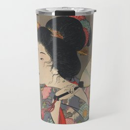 Japanese Art Print - Woman and Fireflies Travel Mug