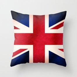Union Jack UK British Grunge Flag  Throw Pillow