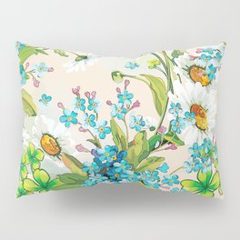 Adorable white sunflower texture Pillow Sham