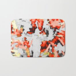 splash painting texture abstract background in red pink yellow black Bath Mat