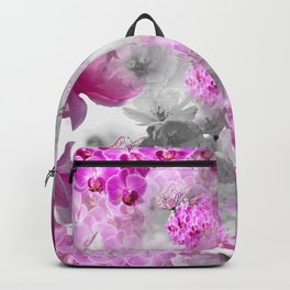 CHERRY BLOSSOMS ORCHIDS AND MAGNOLIA IMPRESSIONS IN PINK GRAY AND WHITE Backpack