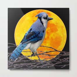 BLUE JAY & GOLDEN MOON LIGHT ABSTRACT Metal Print