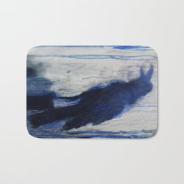 Contemporary Blue Raven Weather Abstract Painting  Bath Mat