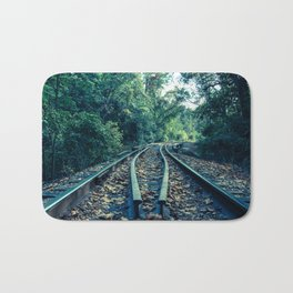 Lead Me into the Light Abstract Colorized Rural Landscape Photo Bath Mat