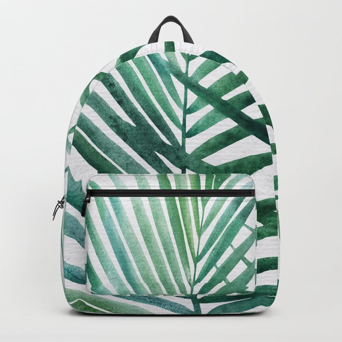 Emerald Palm Fronds Watercolor Rucksack