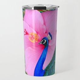 TROPICAL PINK HIBISCUS PEACOCK GREEN ART Travel Mug