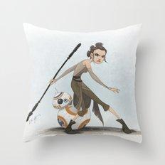 Rey & BB-8 Throw Pillow