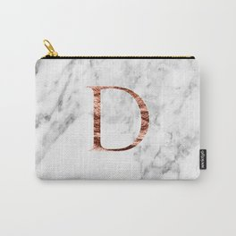 Monogram rose gold marble D Carry-All Pouch