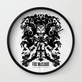 Fox McCloud Star Fox Inspired Geek Psychological Inkblot Wall Clock