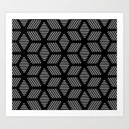 Geometric Line Lines Diamond Shape Tribal Ethnic Pattern Simple Simplistic Minimal Black and White Art Print