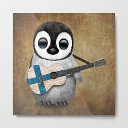 Baby Penguin Playing Finnish Flag Acoustic Guitar Metal Print