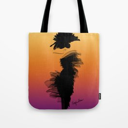 Fashion model in her little black dress in the sunset Tote Bag