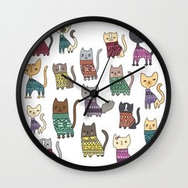 sweater cats Wall Clock