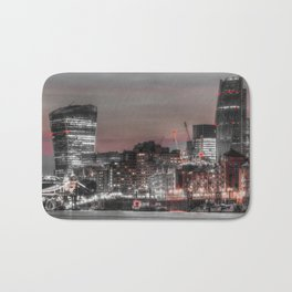 London in Monochrome and Red Bath Mat