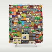rio de janeiro Shower Curtains featuring Favela, Rio de Janeiro by Rceeh