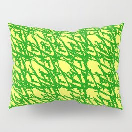 Braided geometric pattern of wire and green arrows on a yellow background. Pillow Sham